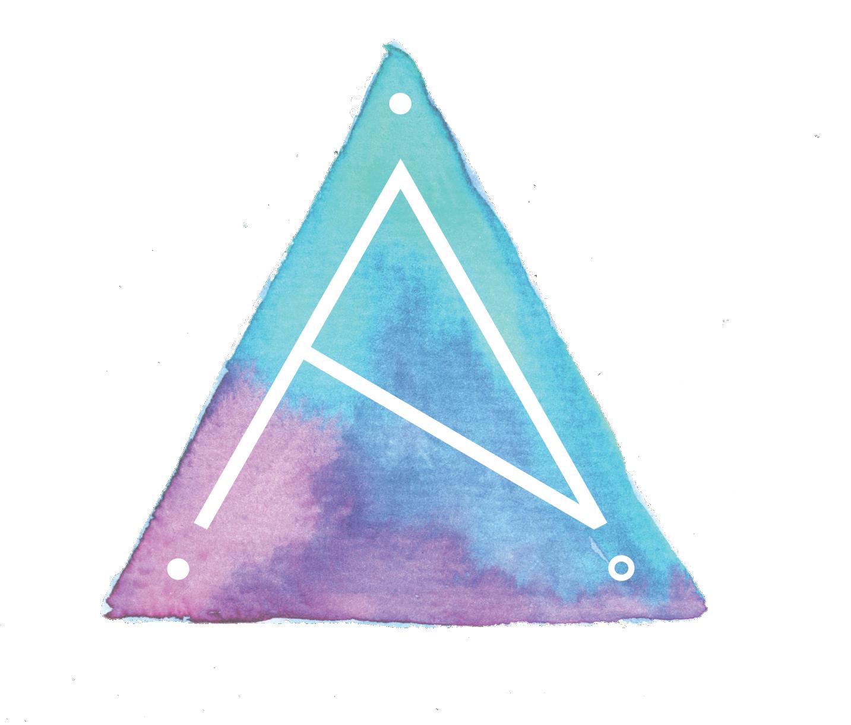 alison titus jewelry logomark with watercolor triangle element
