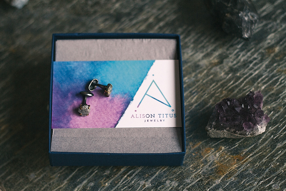 alison titus jewelry branded packaging with cufflinks