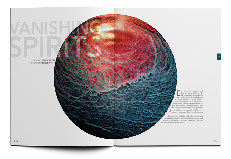 a spread from iota magazine showing the surreal textures and colors found at the bottom of your whiskey glass