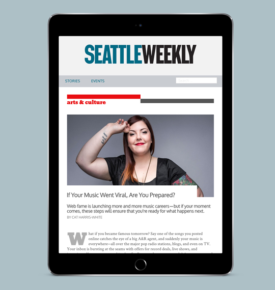Seattle Weekly redesigned site mocked up on a tablet device