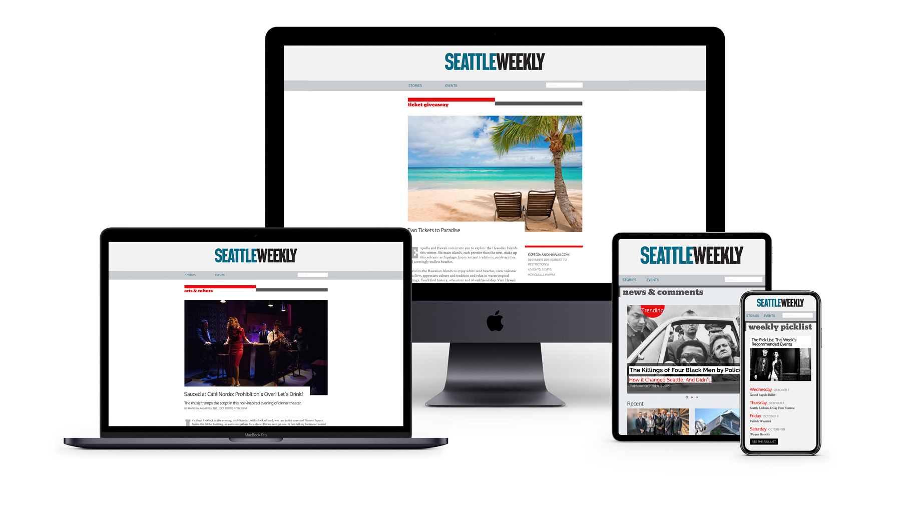 Seattle Weekly redesign mocked up on multiple devices