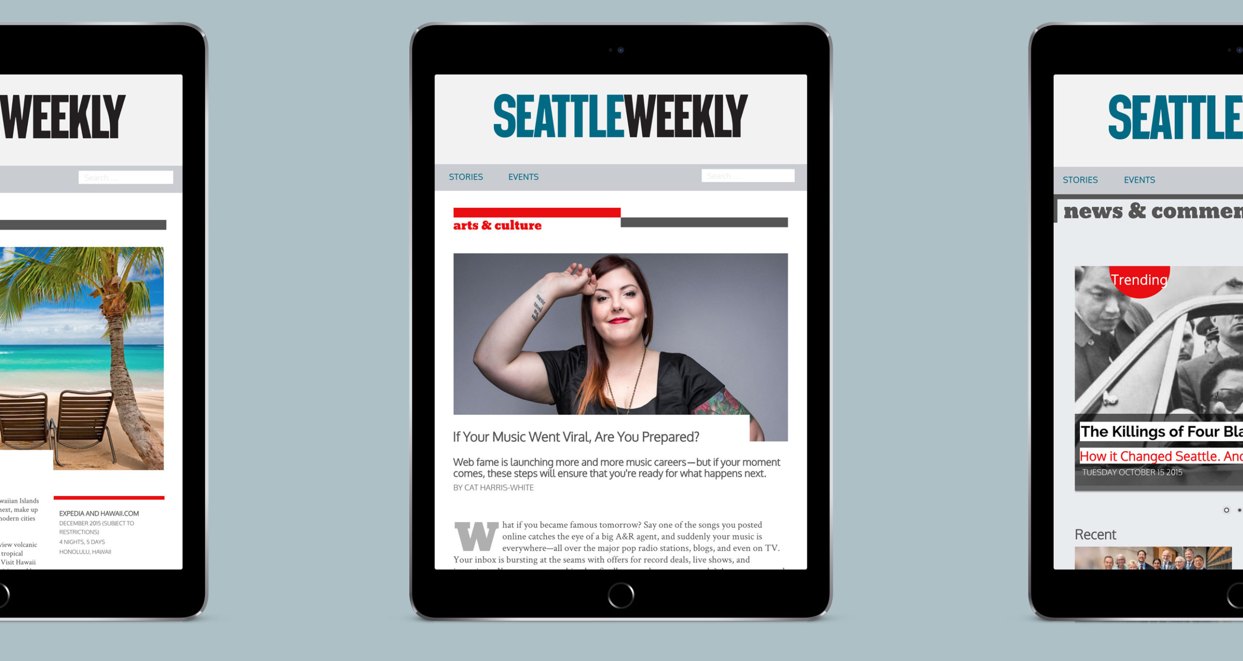 Seattle Weekly redesign website mocked up on three tablet devices