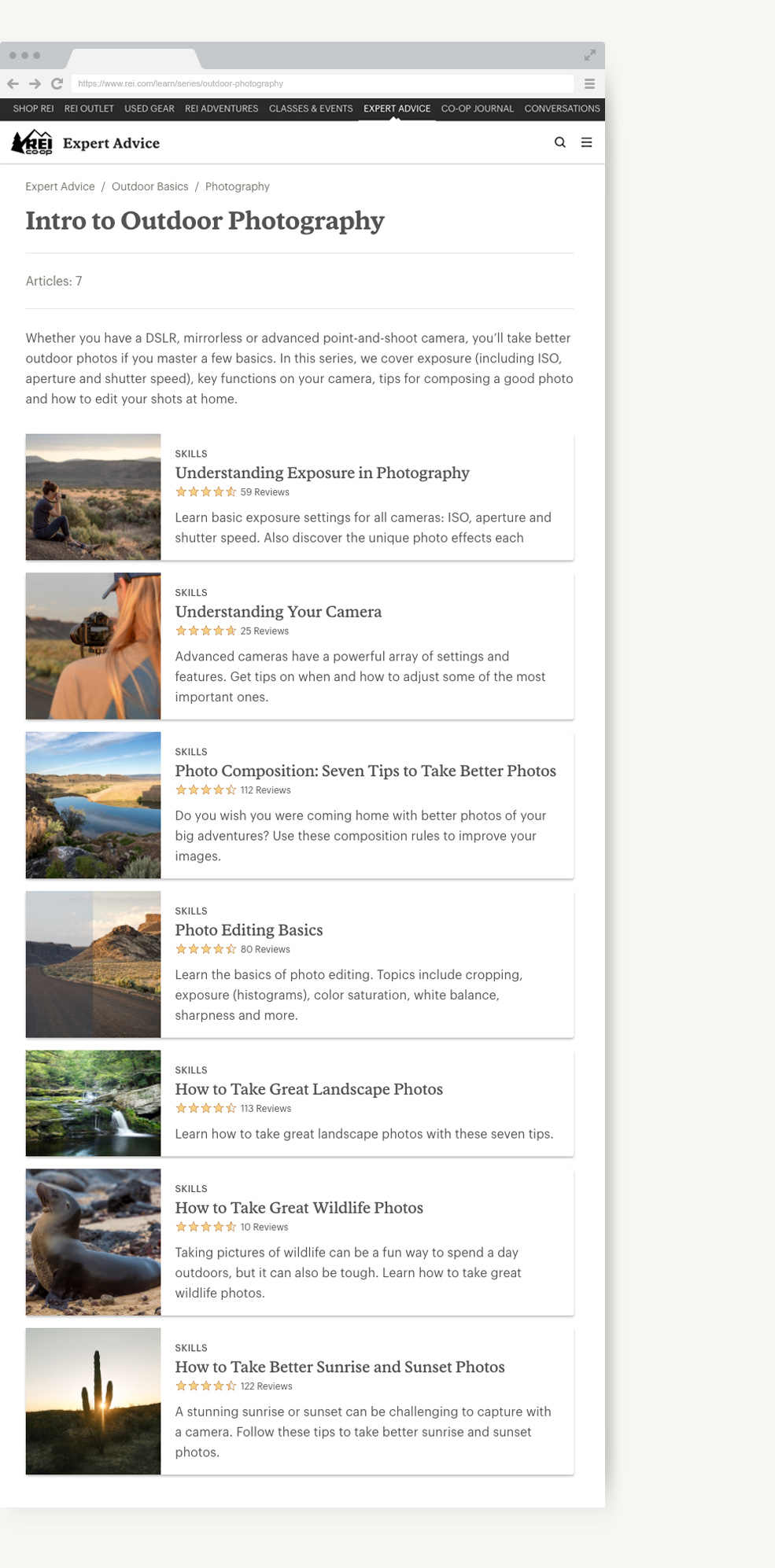 REI Expert Advice outdoor photography series page