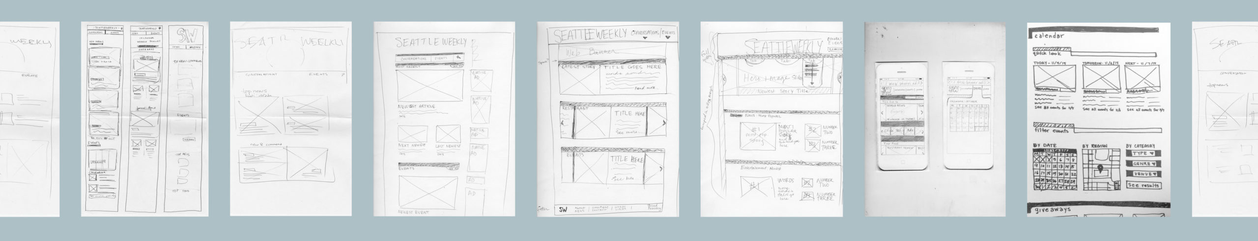 low-fidelity wireframes for Seattle Weekly redesign concept